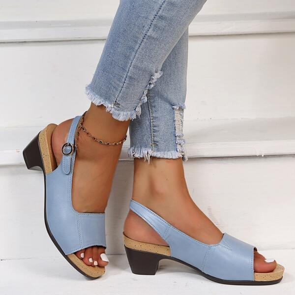 Minimalist Slingback Chunky Heeled Sandals, Baby blue