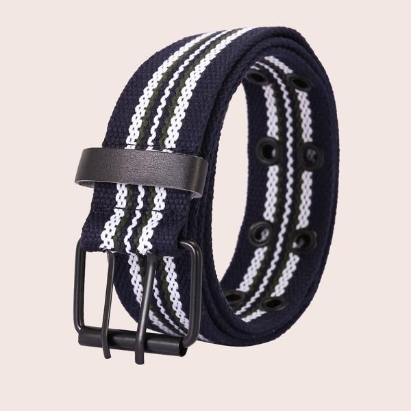 Men Striped Pattern Belt, Navy blue