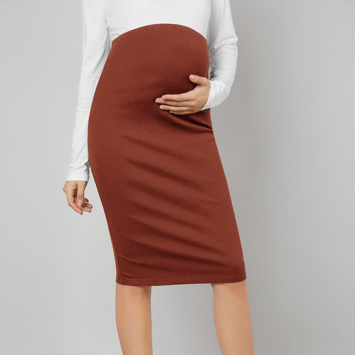Maternidad falda lápiz tejida de canalé de cintura ajustada