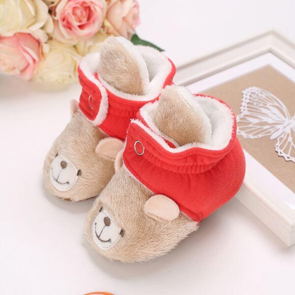 Baby Cartoon Bear Design Fluffy Boots, Apricot
