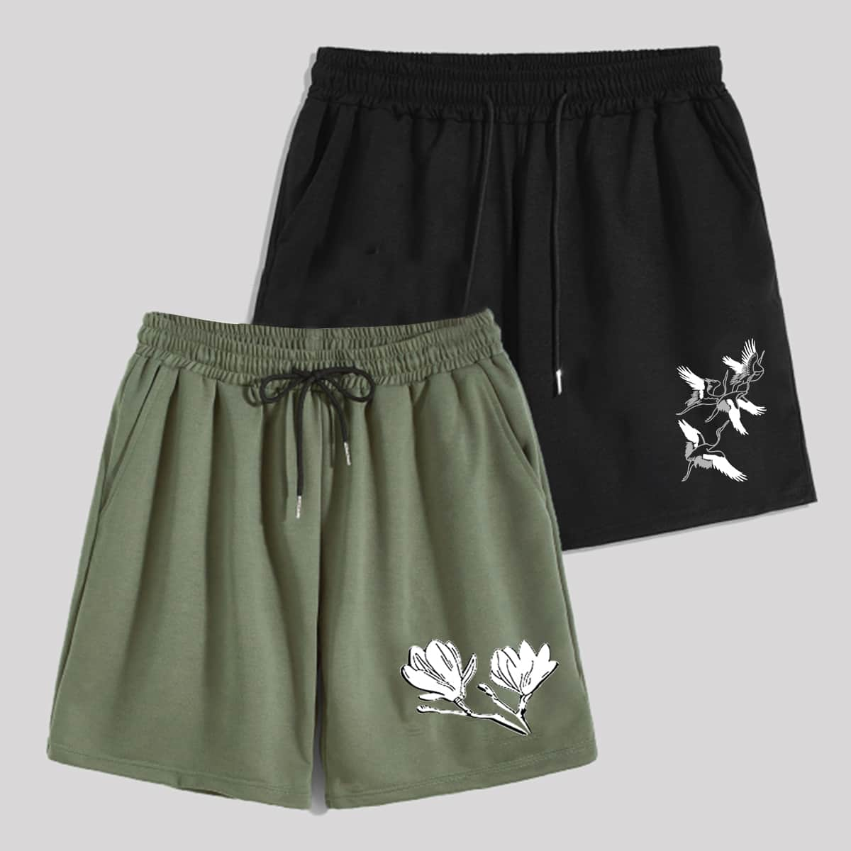 Guys 1pc Floral Graphic Drawstring Shorts & 1pc Crane Graphic Drawstring Shorts