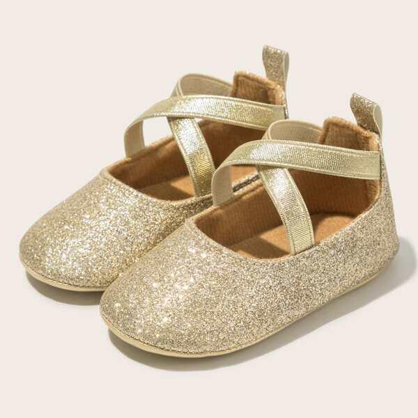 Baby Glitter Decor Strappy Flats, Gold