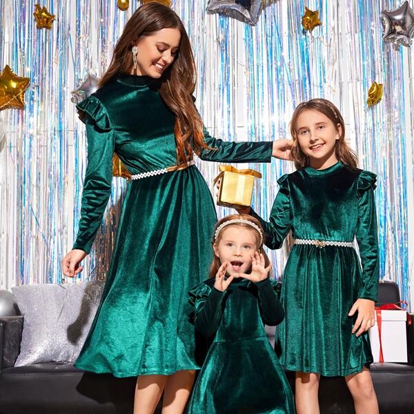 Girls 1pc Solid Ruffle Trim A-line Velvet Dress Without Belt, Green