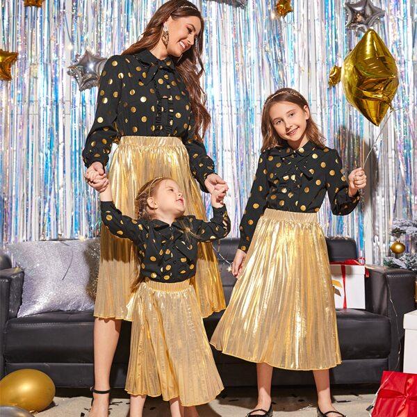 Girls 1pc Gold Polka Dot Print Ruffle Trim Blouse, Multicolor