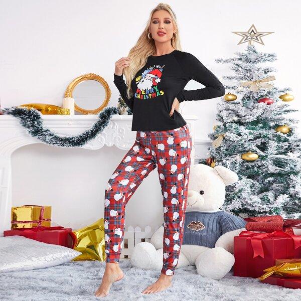 Christmas Print Top And Tartan Pants PJ Set, Multicolor