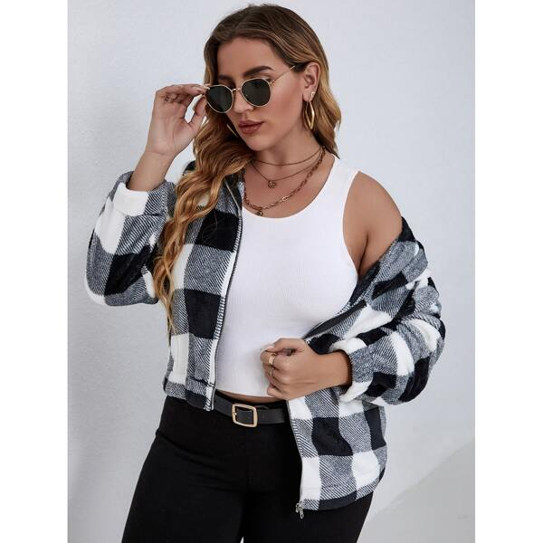 Plus Gingham Hooded Teddy Jacket, Black and white