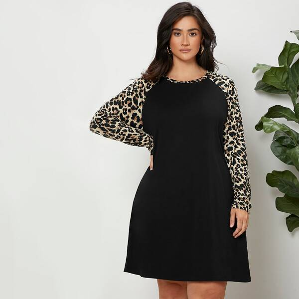 Plus Leopard Print Raglan Sleeve Dress, Black