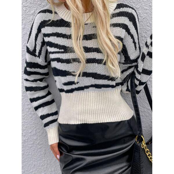 Drop Shoulder Zebra Striped Sweater, Multicolor