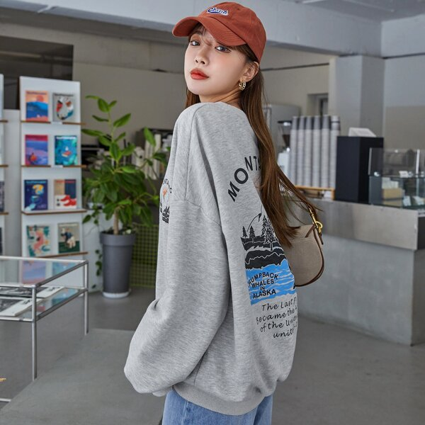 Slogan & Mountain Print Drop Shoulder Sweatshirt, Light grey