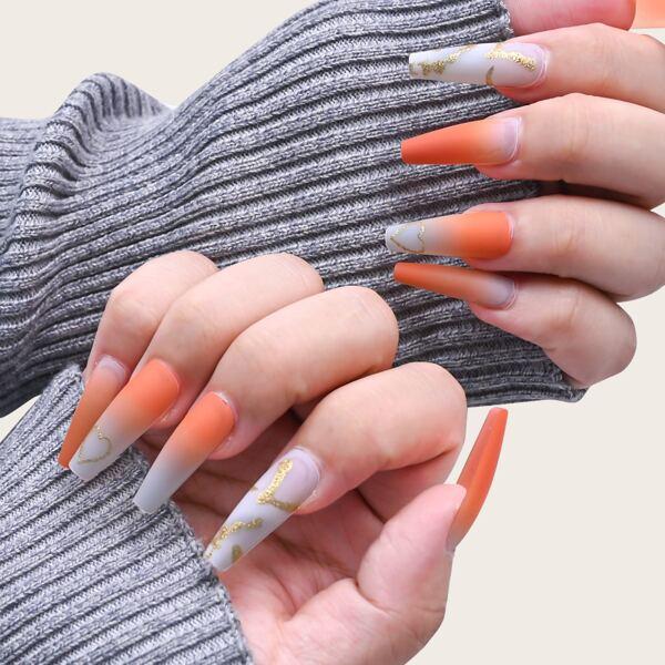24pcs Ombre Fake Nail & 1sheet Tape & 1pc Nail File, Orange