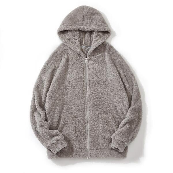 Men Slant Pocket Zip Up Teddy Hooded Jacket, Grey