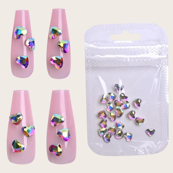 20pcs Heart Nail Art Decoration, Multicolor