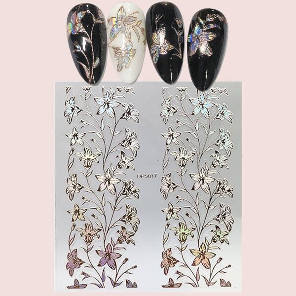 1sheet Flower Pattern Nail Art Sticker, Multicolor