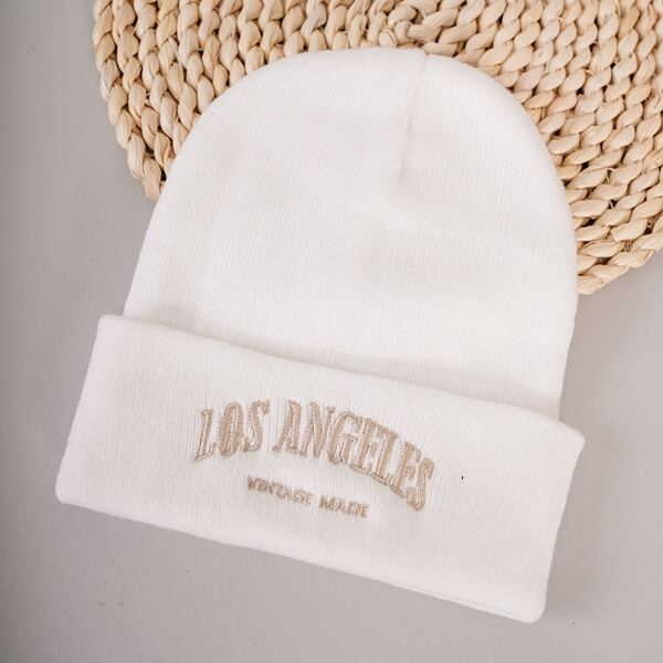 Letter Embroidered Beanie, White
