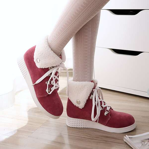 Suede Lace-up Front Fuzzy Snow Boots, Red