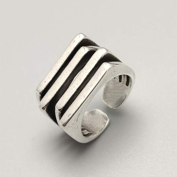 Geo Decor Cuff Ring, Antique silver