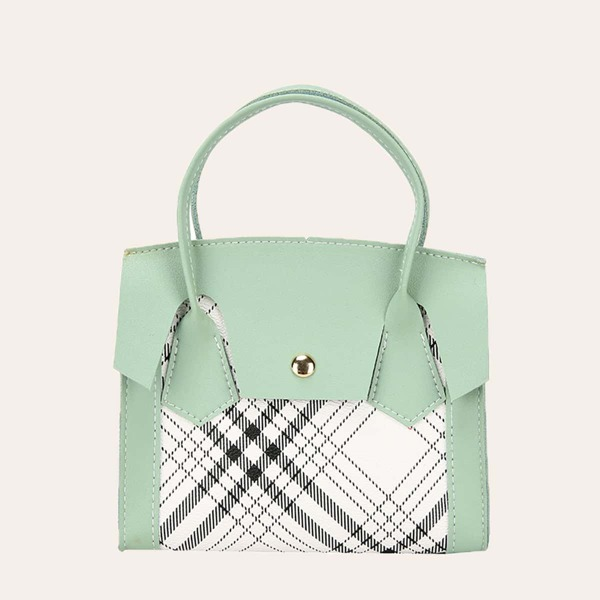 Plaid Pattern Satchel Bag, Green