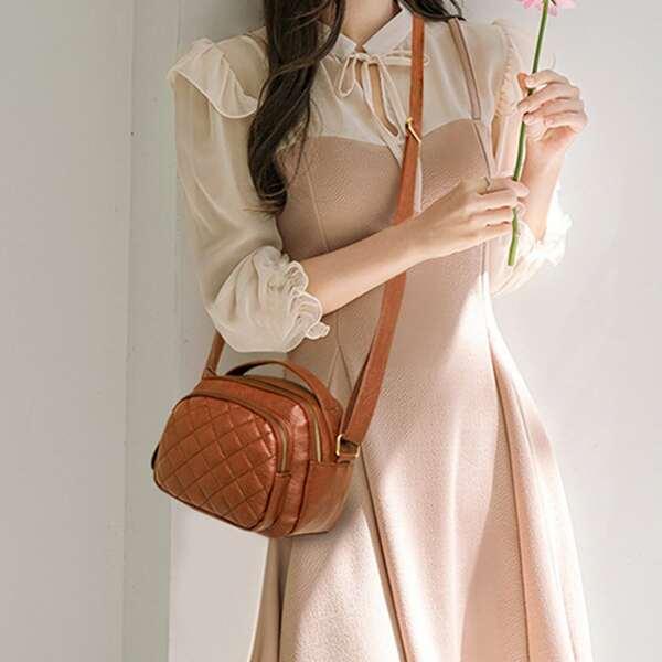 Minimalist Textured Satchel Bag, Brown