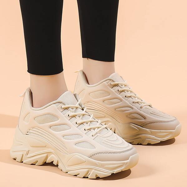 Minimalist Textured Chunky Sneakers, Beige