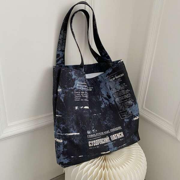 Tie Dye Letter Graphic Shopper Bag, Black