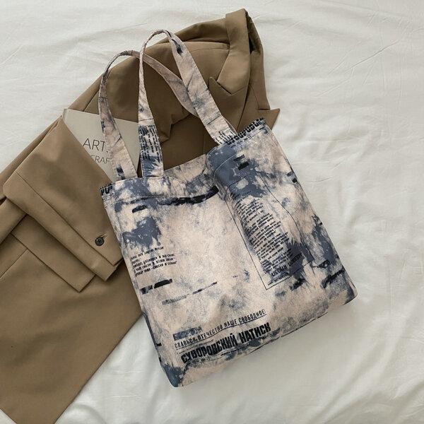 Tie Dye Letter Graphic Shopper Bag, Multicolor