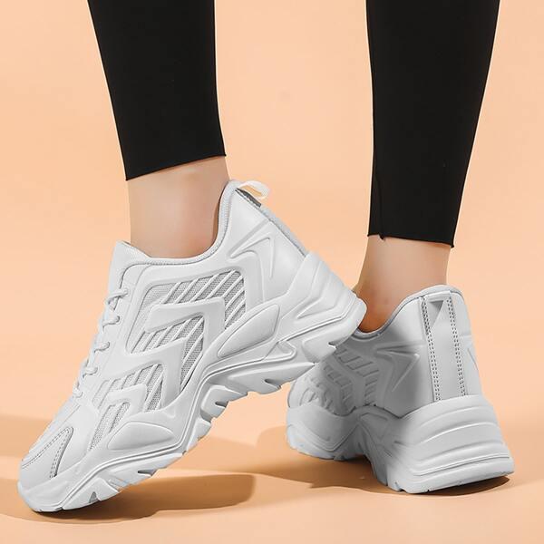 Minimalist Textured Chunky Sneakers, White