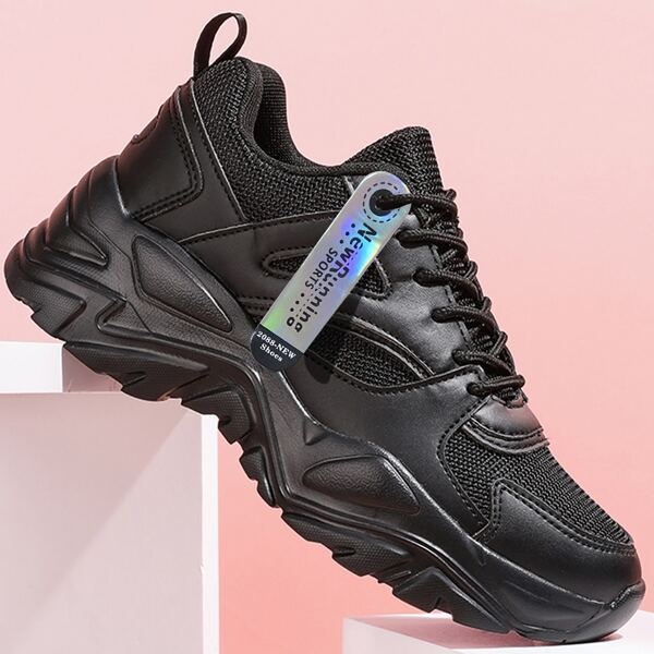 Minimalist Breathable Chunky Sneakers, Black