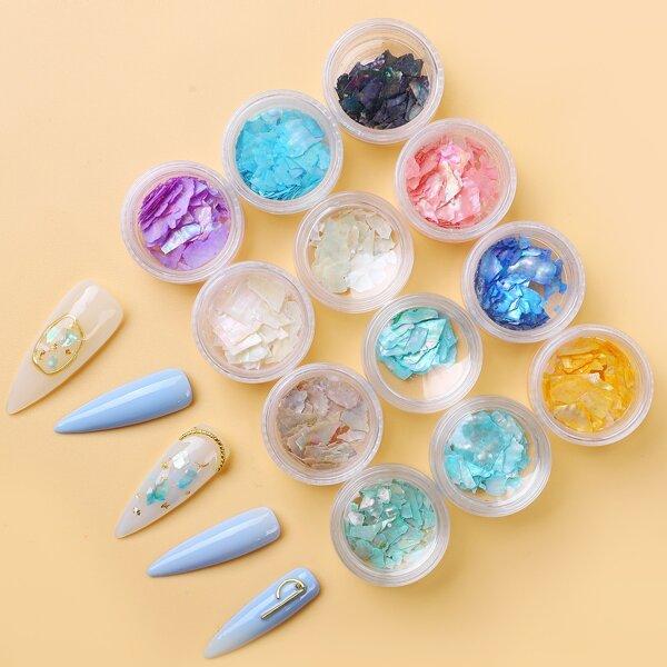 12pcs Shell Flakes Nail Art Decoration, Multicolor