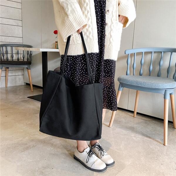 Minimalist Large Capacity Shoulder Tote Bag, Black