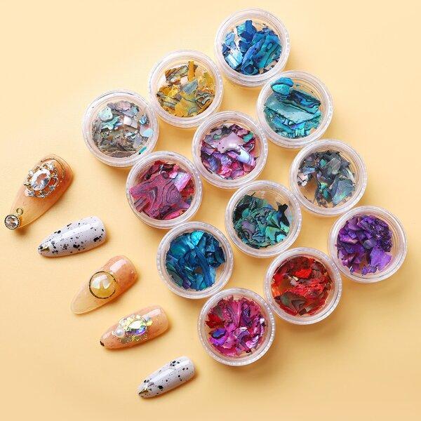 12pcs Shell Flakes Nail Art Decorations, Multicolor