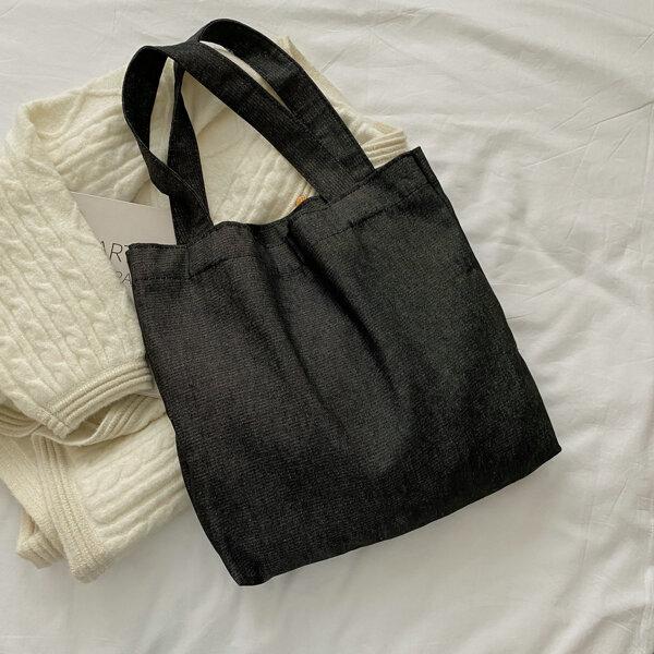 Minimalist Denim Shopper Bag, Black