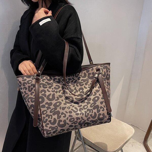 Leopard Print Shoulder Tote Bag, Multicolor