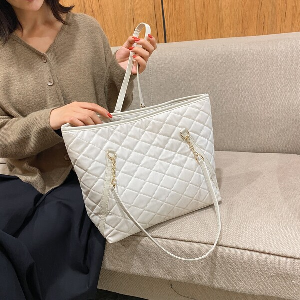 Large Capacity Quilted Shoulder Tote Bag, White