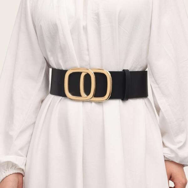 Geometric Buckle Corset Belt With Punch Tool, Black