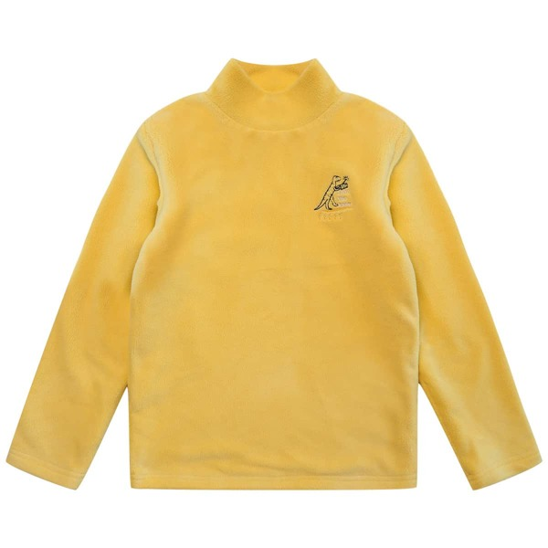 Boys Mock Neck Dinosaur & Letter Embroidery Thermal Tee, Yellow
