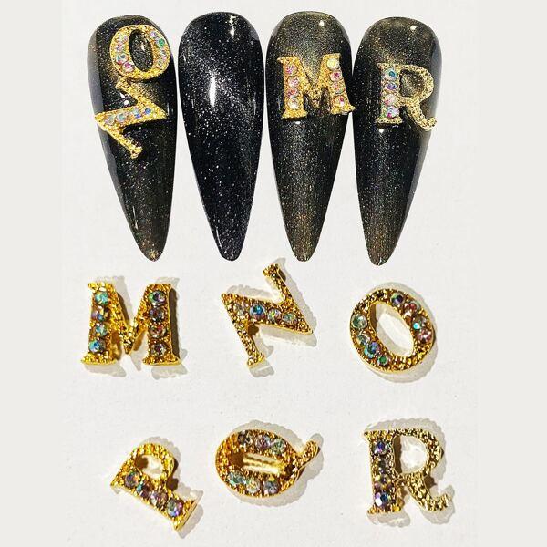 6pcs Rhinestone Decor Letter Shaped Nail Art Decoration, Gold