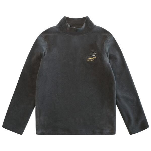 Boys Letter & Dinosaur Embroidery High Neck Tee, Dark grey