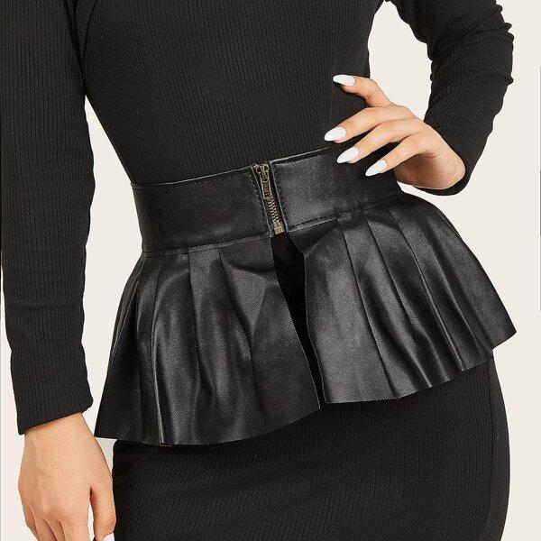 Zipper Detail Corset Belt, Black