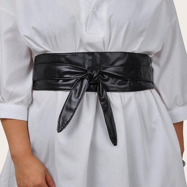 Plus Size Solid Corset Belt, Black