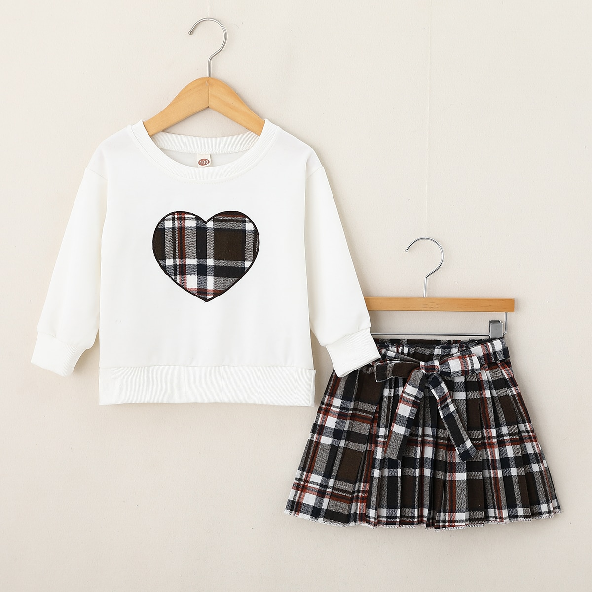 Toddler Girls Plaid Heart Embroidered Pullover & Belted Pleated Skirt