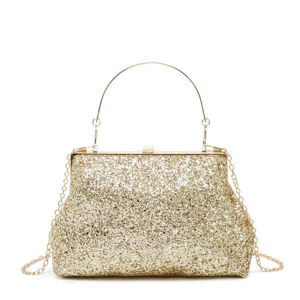 Glitter Chain Clutch Bag, Gold