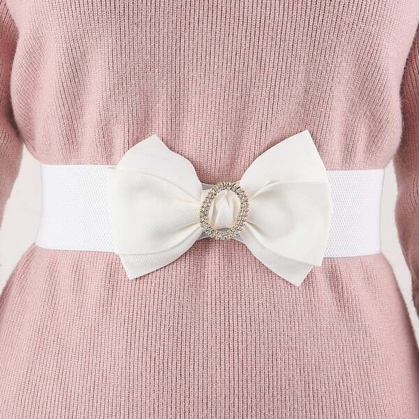 Bow Decor Corset Belt, White