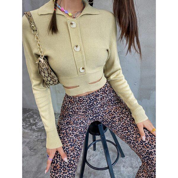 Dolman Sleeve Buttoned Cut Out Waist Sweater, Khaki