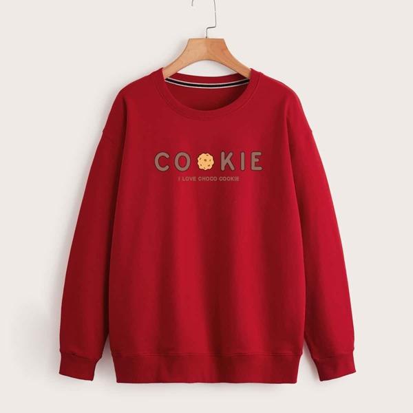 Slogan Graphic Drop Shoulder Sweatshirt, Burgundy