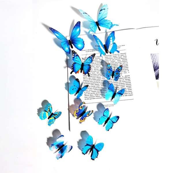 12pcs Glow Butterfly Sticker, Blue