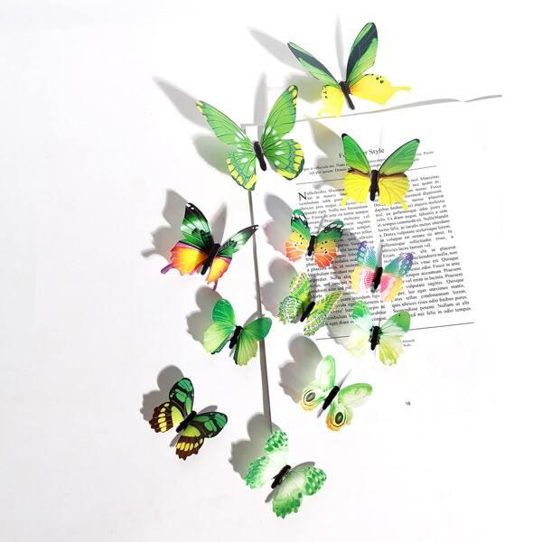 12pcs Glow Butterfly Sticker, Green