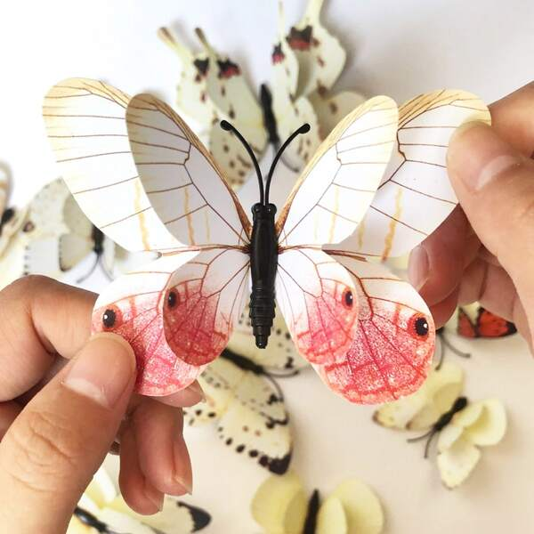 12pcs 3D Butterfly Sticker, Multicolor
