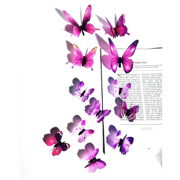 12pcs Glow Butterfly Sticker, Purple