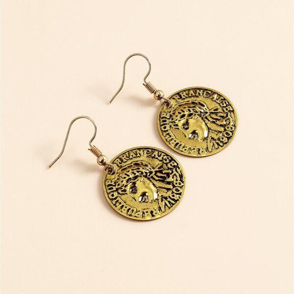 Vintage Round Drop Earrings, Gold