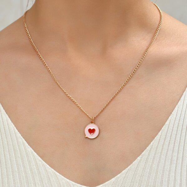 Heart Detail Pendant Necklace, Multicolor